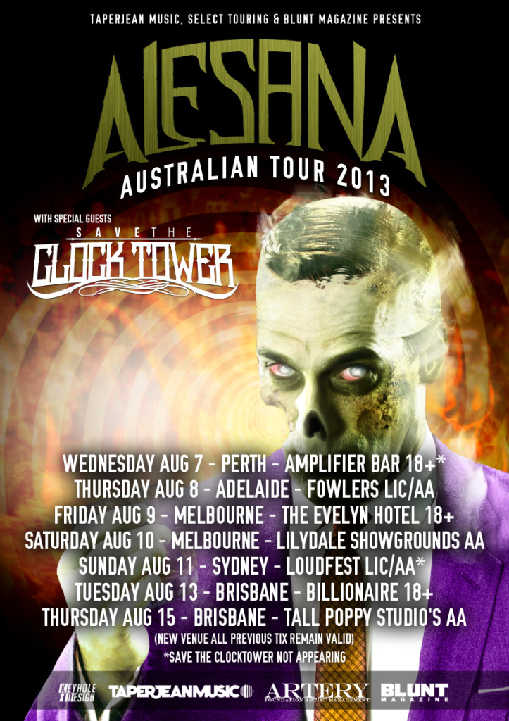 alesana austraia wide tour with Save The Clock Tower just signed to Bullet Tooth Records perth adelaide melbourne sydney brisbane august 2013