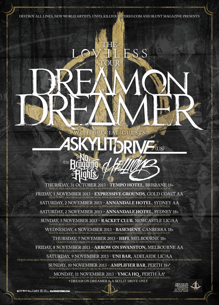 dream on dreamer with as paradise falls a skylit drive hellions tempo hotel fortitude valley brisbane queensland australia tour live hardcore rock metal music halloween day post punk october 31 2013 thursday