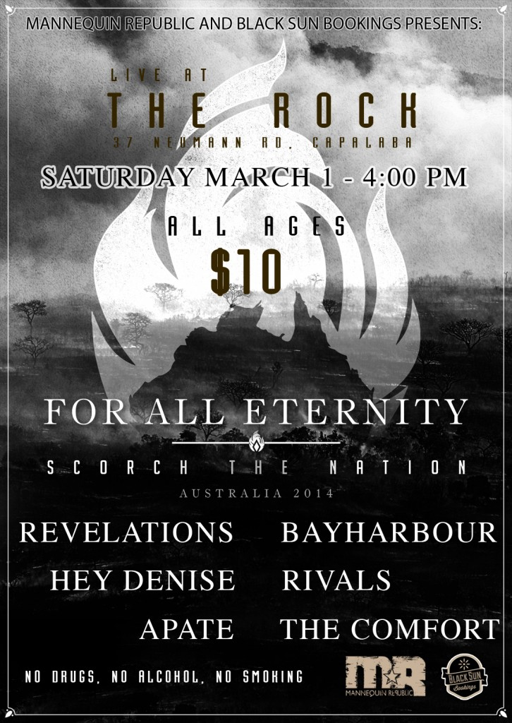 For All Eternity Bayharbour Scorch The Nation Tour The Rock Capalaba all ages March 1 2014 live rock metal hardcore Brisbane Queensland