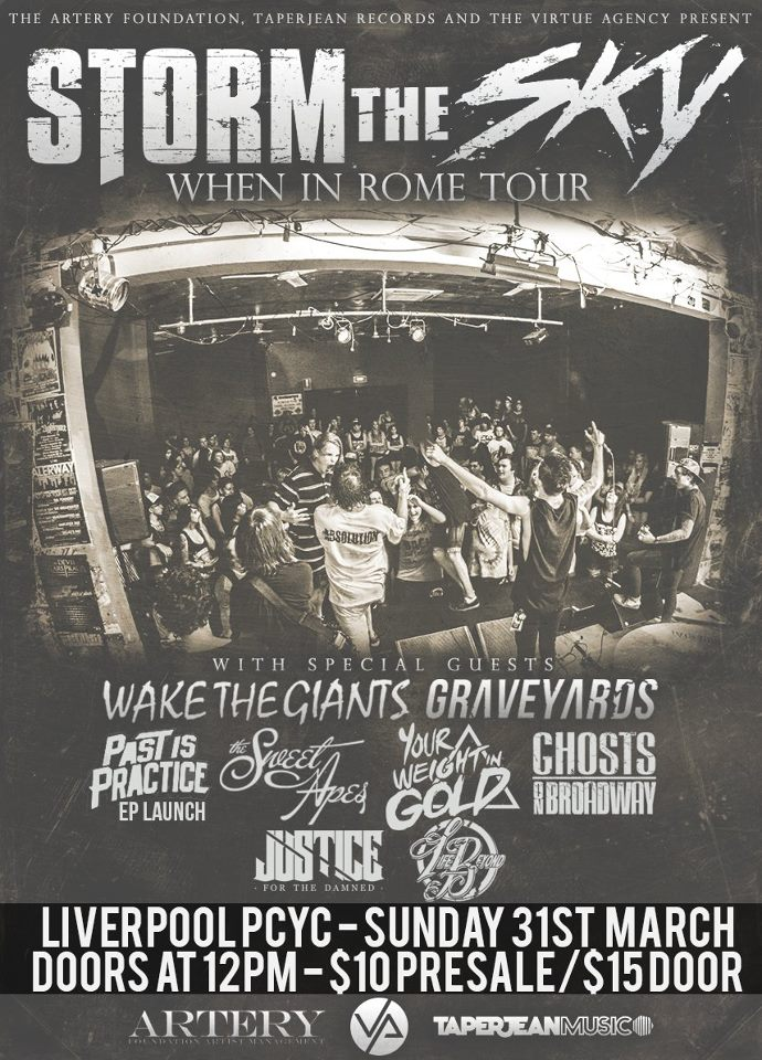 heaps of live metal and hardcore bands in liverpool new south wales nsw australia mini festival cheap entry all ages storm the sky ghosts on broadway past is practice ep launch wake the giants graveyards