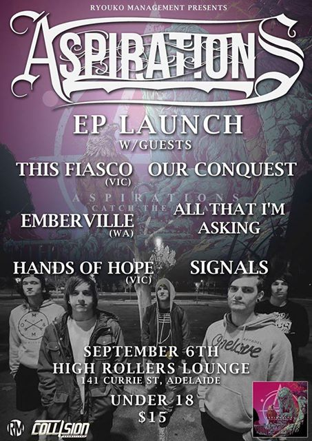This Fiasco Aspirations EP launch high rollers lounge adelaide under 18 saturday september 6 2014 special live punk pop rock metal heavy hardcore alternative bands music