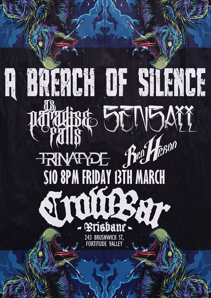 a breach of silence as paradise falls trinatyde darkest road album launch 8pm friday march 13 2015 live hardcore rock punk metal power core alternative live bands music q music nominated award best heavy song mannequin republic