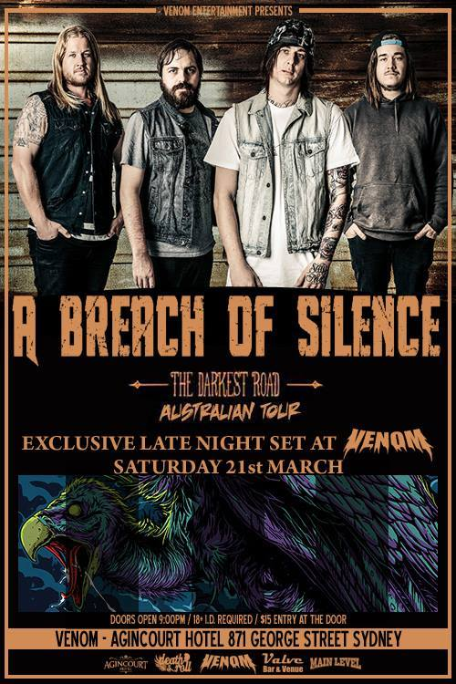 a breach of silence darkest road australian tour venom night club in sydney 9 pm anincourt hotel saturday march 21 2015 live hardcore rock punk metal power core alternative live bands music q music nominated award best heavy song