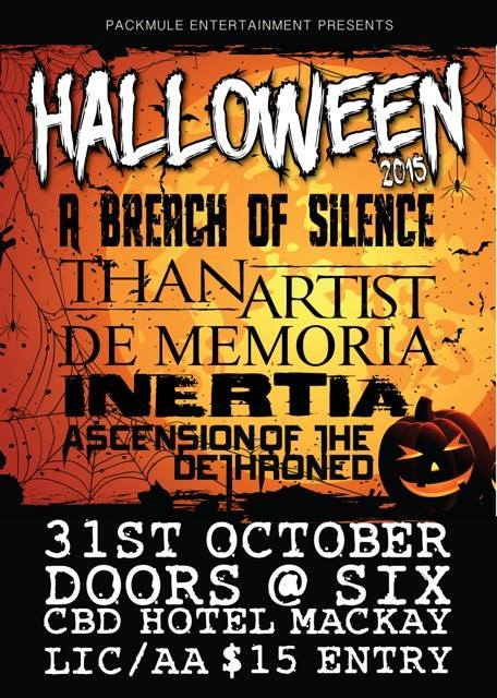 a breach of silence halloween showcase cbd hotel mckay sunshine coast all ages october 31 2015 live hardcore rock alternative metal heavy music bands saturday licensed