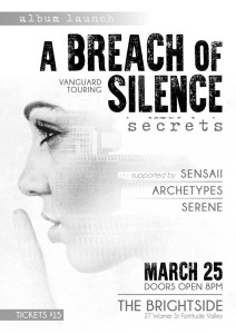 a breach of silence launch party the brightside brisbane fortitude valley saturday march 25 2017 secrets new cd Sensaii Archetypes Serene live rock hardcore punk metal heavy new music queensland australia powercore metal