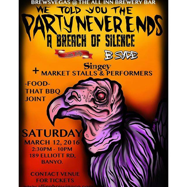 a breach of silence we told you the party never ends all inn brewary banyo brisbane saturday march 12 2016 live hardcore rock metal acoustic bands markets music craft beer banyo queensland australia