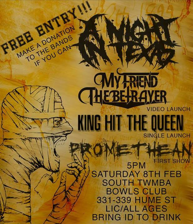 a night in texas free entry south toowoomba bowls club licensed and all ages february 8 2014 licensed rock metal punk hardcore saturday concert music music video new single