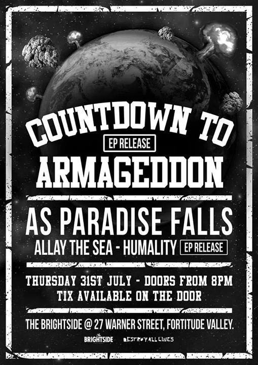 as paradise falls countdown to armageddon EP release brightside fortitude valley thursday july 31 2014 live rock hardcore punk metalcore deathcore party scene brisbane queensland ep release launch