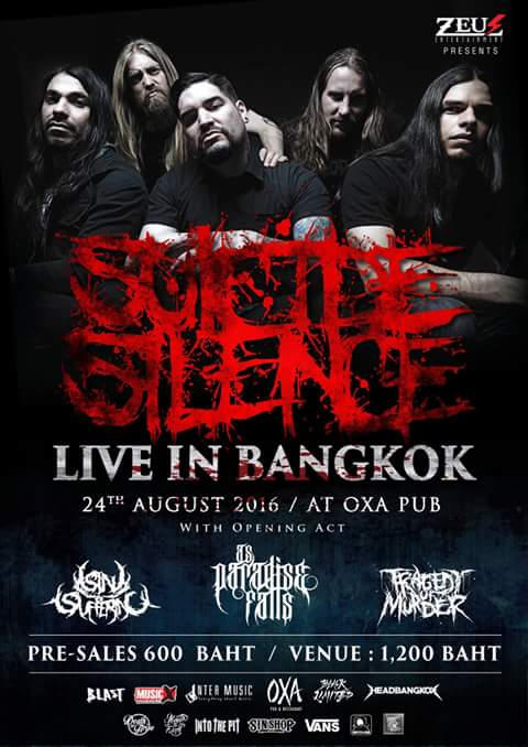 as paradise falls live in bangkok suicide silence oxa pub wednesday august 24 2016 live hardcore rock metal american australia thailand usa live bands music