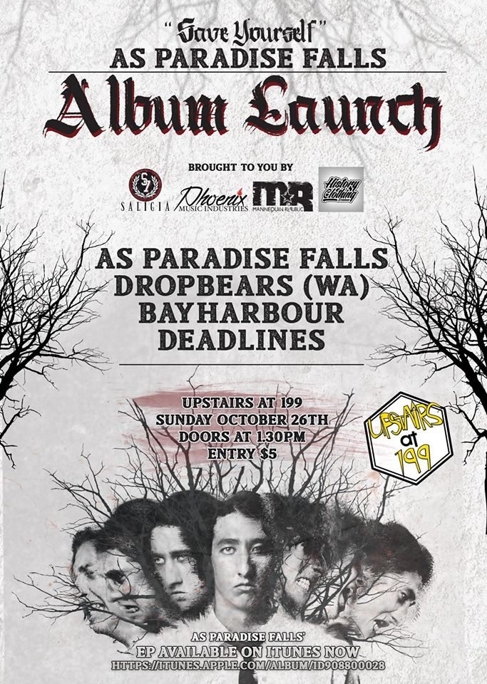 as paradise falls save yourself album launch party upstairs at 199 all ages brisbane october 26 2014 sunday LIVE hardcore deathcore metal heavy bands music cheap entry sunday afternoon australia