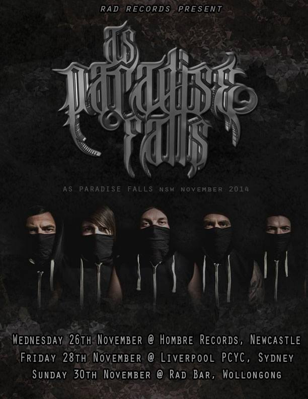 as paradise falls save yourself launch tour poster for NSW sydney newcastle wollongong november 26 28 30 2014 live hardcore deathcore metalcore heavy music band from Brisbane mannequin republic australia