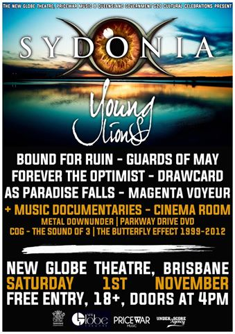 as paradise falls sydonia young lions new globe theatre brisbane saturday November 1 2014 free entry live heavy rock metal punk hardcore g20 live bands music australia