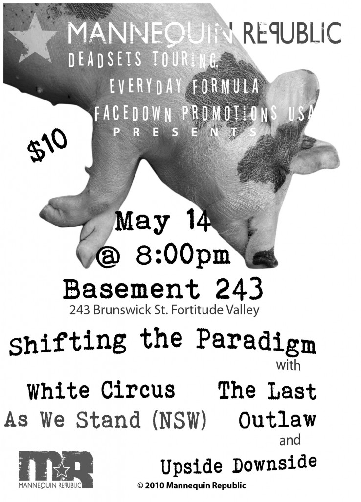 live heavy hardcore metal music at basement 243 on may 14 2011 featuring the last outlaw shifting the paradigm white circus as we stand