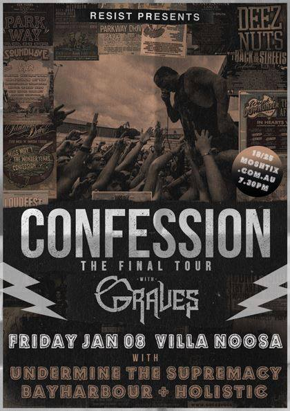 bayharbour confession graves the final tour villa noosa queensland sunshine coast friday january 8 2016 noosaville live hardcore rock punk metal heavy alternative music bands australia