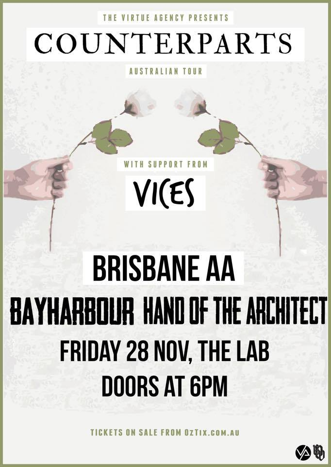 bayharbour counterparts vices hand of the architect the lab brisbane all ages friday november 28 2014 australia tour canada headline band live hardcore international heavy alternative music