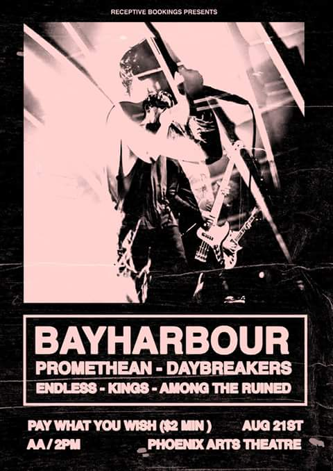 bayharbour phoenix arts theatre brisbrane all ages pay what you wish august 21 2016 woolloongabba free hardcore rock punk metal heavy live music