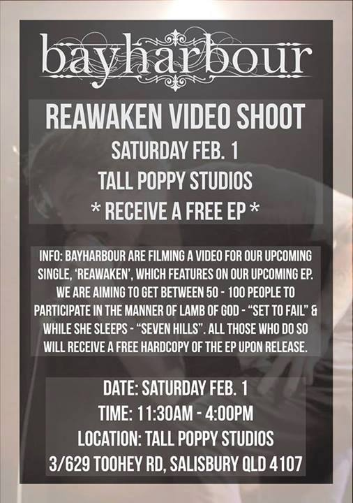 bayharbour video shoot tall poppy studios 11 am saturday february 1 2014 reawaken free entry all ages free EP morning mosh rock metal punk music video filiming brisbane toohey road salisbury
