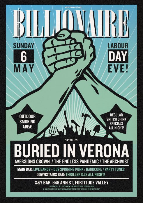 billionaire with burried in verona and the endless pandemic may 6 2012 live metal hardcore alternative music plus djs, cheap drinks and more