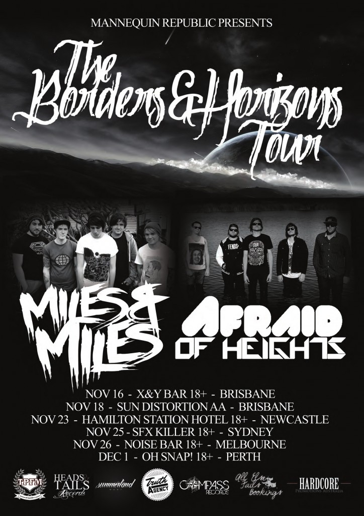 the borders and horizons tour invades newcastle, sydney, perth, melbourne and brisbane with the biggest loudest and heaviest dose of live hardcore rock music in australia