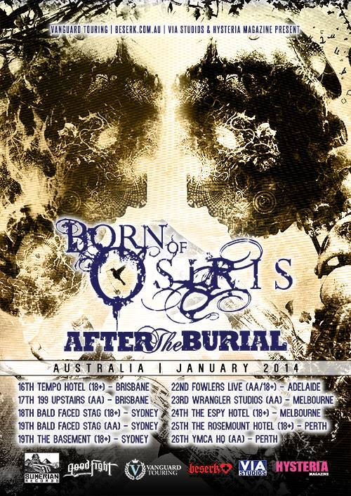 born of osiris tour poster 2014 with road to ransome a breach of silence and bayharbour in brisbane january 16 and 17 tempo hotel 199 bar queensland australia american hardcore metal progressive alternative pop-punk metalcore live bands music queensland