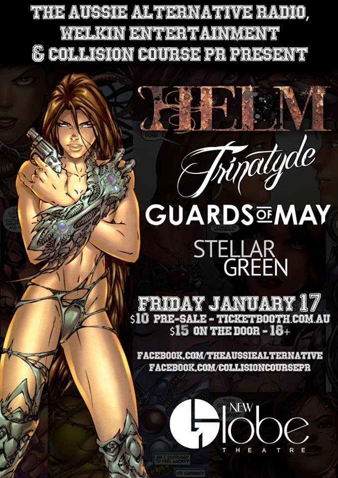 helm trinatyde new globe theatre fortitude valley brisbane january 17 2014 guards of may stellar green live metal rock heavy hardcore bands queensland