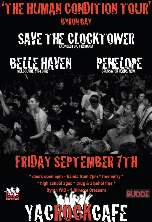 human condition tour byron bay Septermber 7 2012 with save the clocktower and belle haven all ages new south wales live hardcore rock metal underground live alternative australia music free show free entry