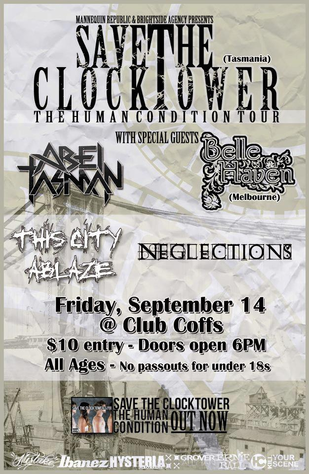 Coffs Harbour New South Wales Tour with save the clocktower bellehaven and more for the human condition tour september 14 friday 2012 all ages hardcore metal rock live bands