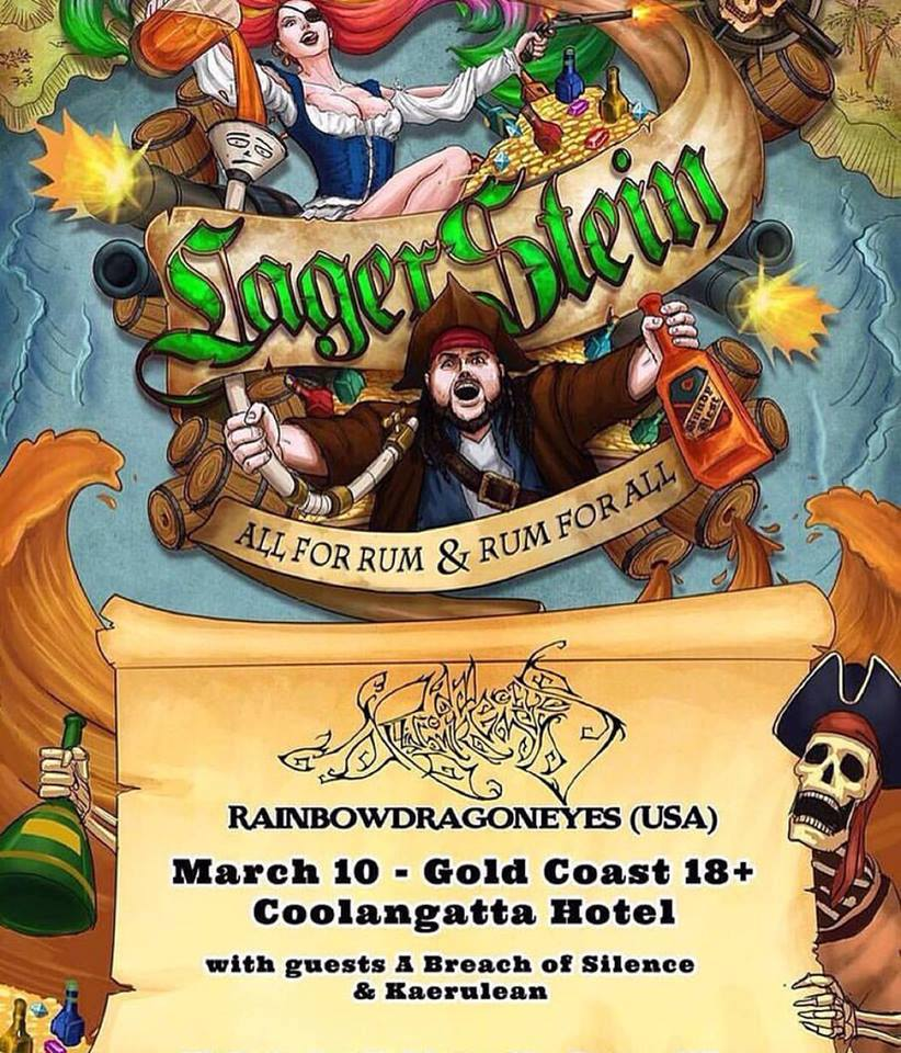 lagerstein rainbowdragoneyes a breach of silence coolangatta hotel gold coast thursday march 10 2016 live rock hardcore metal punk 8-bit digital sampled music amazing sound bands pub queensland australia