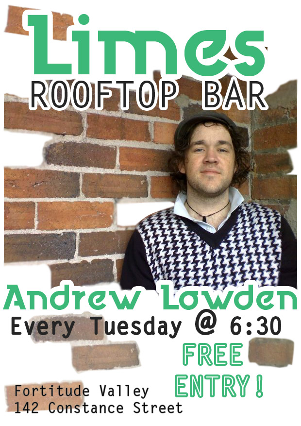 andrew lowden plays live blues folk and soul music every tuesday evening at limes rooftop bar in fortitude valley brisbane