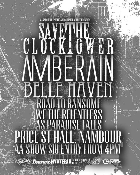 nambour all ages september 8 2012 save the clocktower road to ransome as paradise falls belle haven a,berain we the relentless mannequin republic hardcore metal alternative rock live music bands