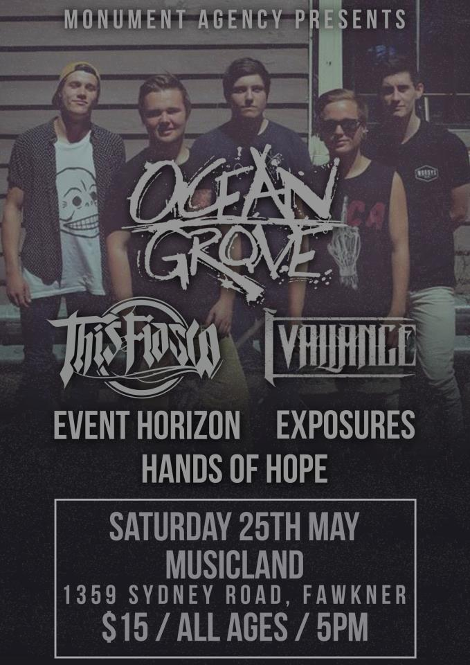 ocean grove this fiasco musicland may 25 all ages cheap entry live hardcore rock punk alternative australia fawkner