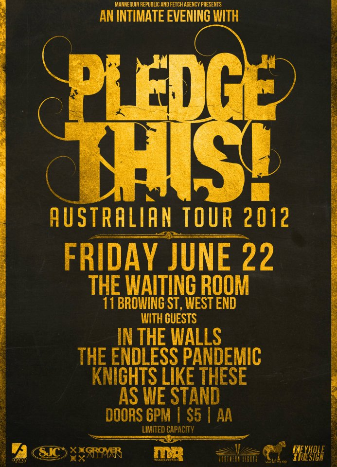 Mannequin Republic presents an intimate evening with pledge this at brisbane's the waiting room in west end, all ages cheap entry only $5 with the endless pandemic in the walls as we stand knights like these