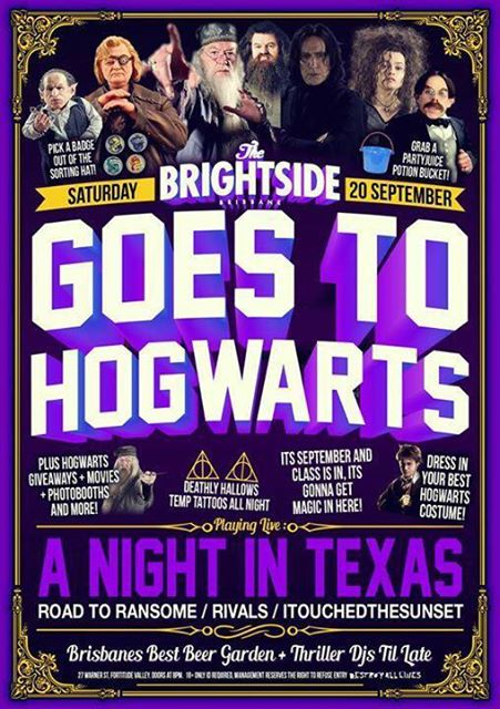 road to ransome brightside goes to hogwarts a night in texas september 20 2014 hardcore post deatchcore pop punk live bands harry potter theme fortitude valley brisbane