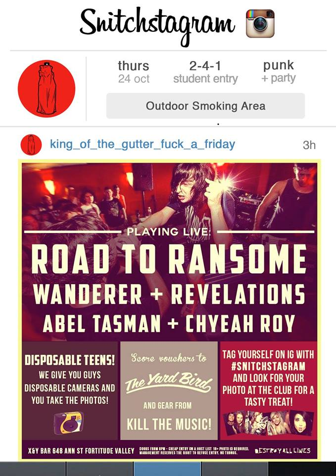 road to ransome abel tasman wanderer revelations chyeah roysnitch the valley brisbane snitchtagram live hardcore rock punk free prizes ungerground metal live bands music scene club instagram theme photos thursday october 24 2013