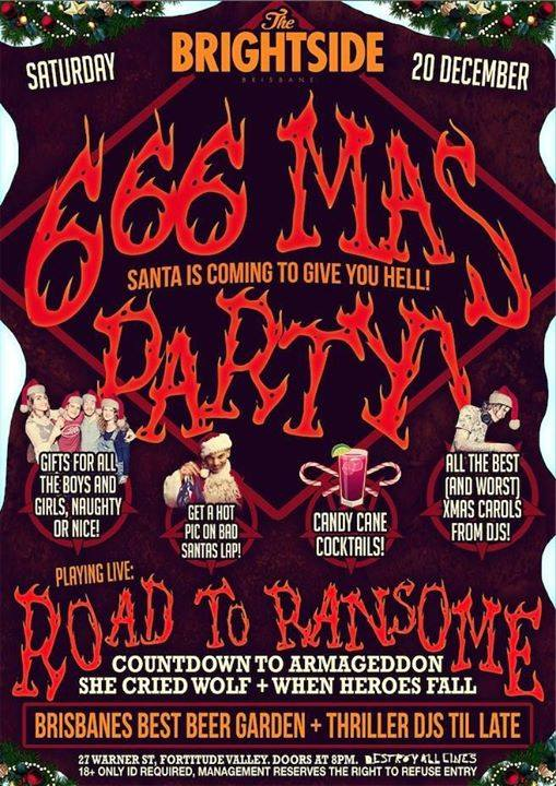road to ransome the brightside brisbane fortitude valley 666 mas saturday december 20 2014 live rock metal punk hardcore bands music christmas party