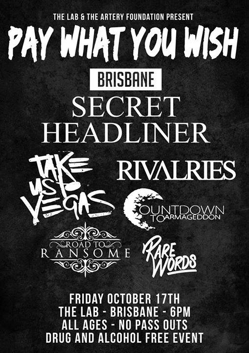 road to ransome the lab brisbane all ages friday october 17 2014 pay what you wish cheap entry live heavy hardcore rock punk deatchore rivalries countdown to armageddon secret headline act live bands music woolloongabba