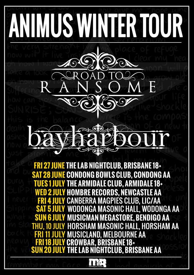 road to ransome winter animus tour poster australia wide june july 2014