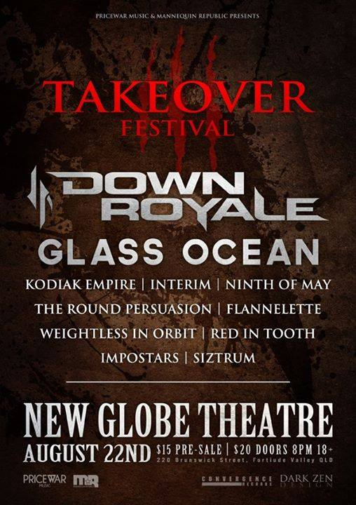 takeover festival 3 down roale glass ocean kodiak empire new globe theatre fortitude valley brisbane august 22 2015 live hardcore rock punk metal alternative heavy bands music mannequin republic pricewar music