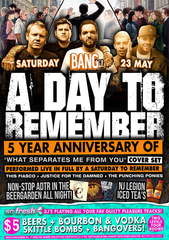 this fiasco a day to remember bang melbourne saturday may 23 2015 cover band live hardcore rock punk alternative indie music on stage royal melbourne hotel