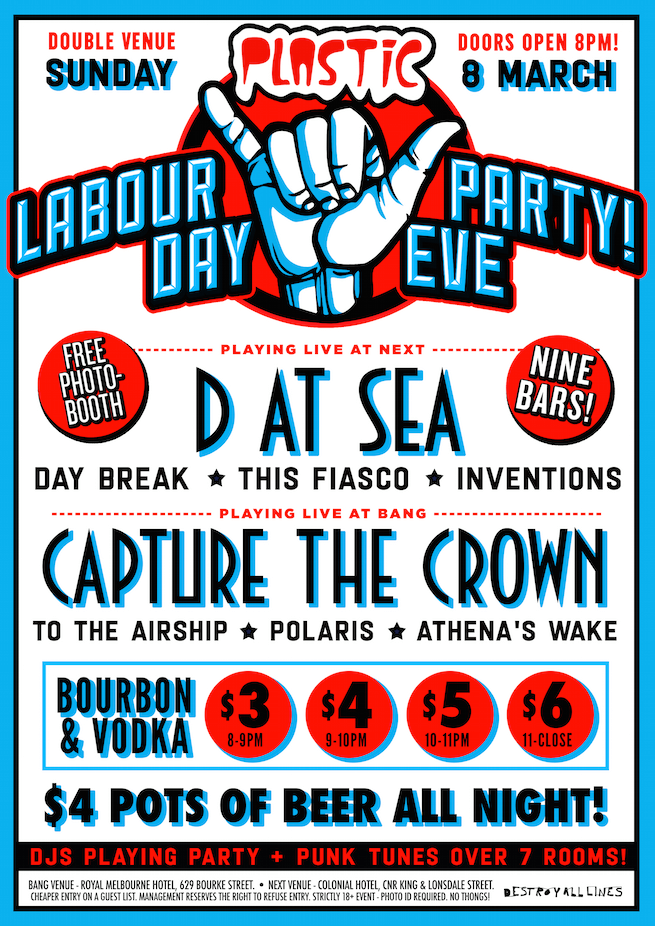 this fiasco d at sea labour day eve party sunday march 8 2015 next melbourne live post hardcore pop punk hard rock alternative heavy live music bands cheap drinks