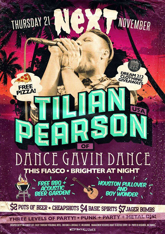 this fiasco with tilian pearson next melbourne thursday November 21 2013 free pizza bbq live punk hardcore metal bands dance gavin dance scene club night music
