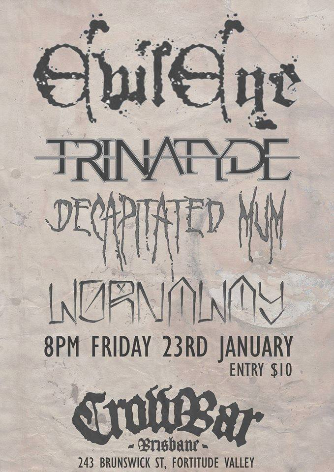 trinatyde crowbar brisbane january 23 2015 live metal hardcore heavy music bands brisbane fortitude valley brunswick street friday tonight