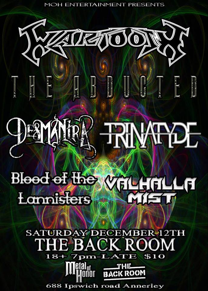 trinatyde metal of honor the back room annerley brisbane december 12 2015 live rock metal bands music queensland australia