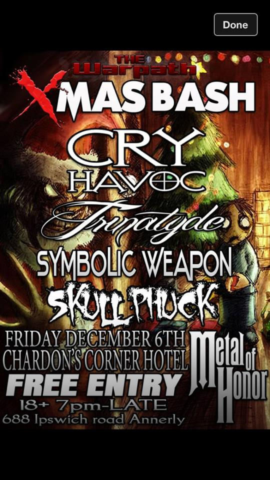 trinatyde xmas mosh gig friday december 6 2013 metal of honor chardon corner hotel free entry free live metal heavy rock bands music ipswich annerly queensland australia christmas party mosh