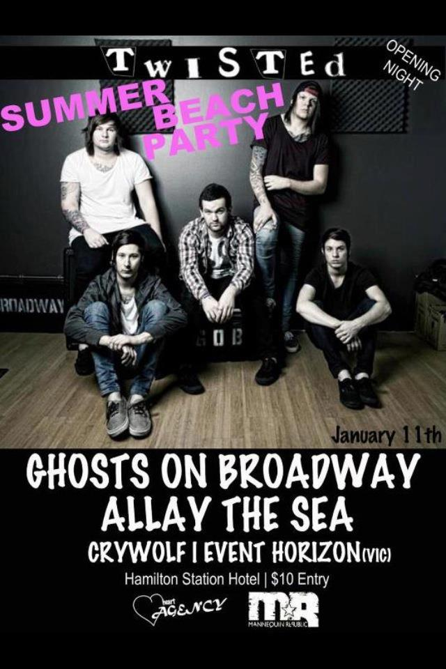 twisted opening night newcastle ghosts on broadway january 11 2013 allay the sead hamilton station hotel