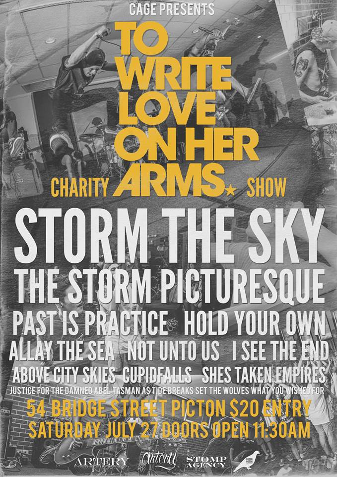 write love on her arms charity show festival event cage ghosts on broadway picton sydney all ages storm The Sky The Storm Picturesque Past Is Practice july 27 2013 live hardcore rock punk metal bands music