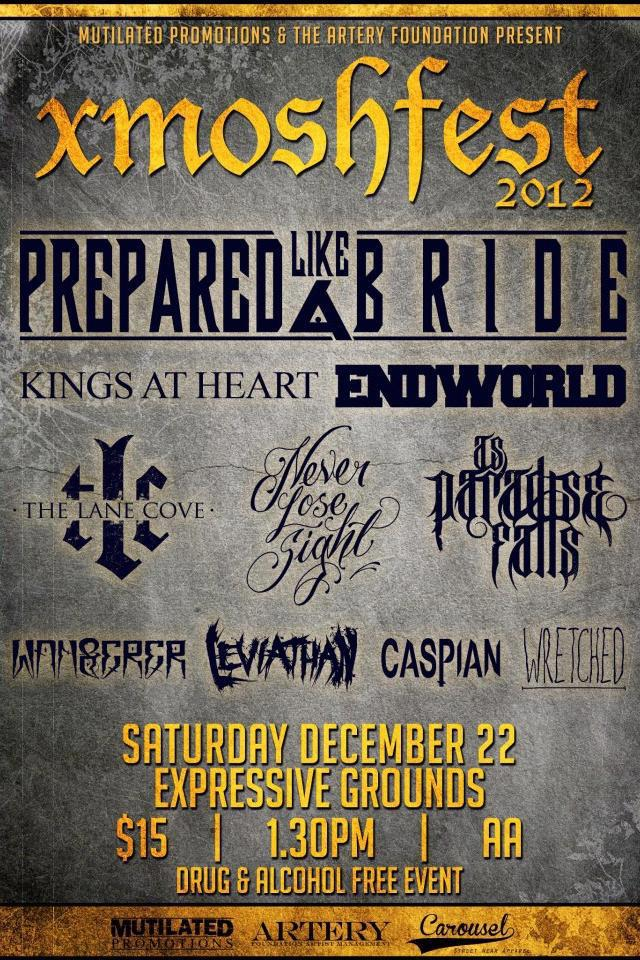 Featuring Prepared Like A Bride, Kings At Heart, Endworld, The Lane Cove, Never Lose Sight,As Paradise Falls, Leviathan, Wanderer, Caspian, Wretched and Disillusions live hardcore rock alternative live metal music bands gold coast queensland australia